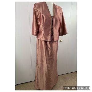David's Bridal 18 2 piece formal dress rose gold